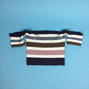 Off the shoulder ribbed striped top